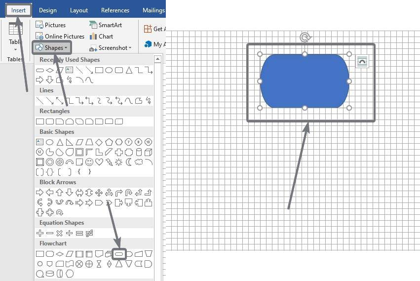 Shapes of flowcharts on Microsoft Word and PowerPoint 10 20