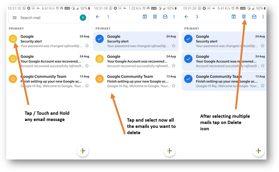 Delete Gmail emails in bulk on Android or iPhone app 2
