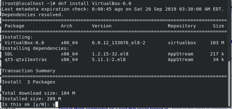Dnf virtualbox 6.0 install redhat 8