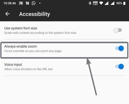 Always enable zoom Firefox mobile Android and iOS