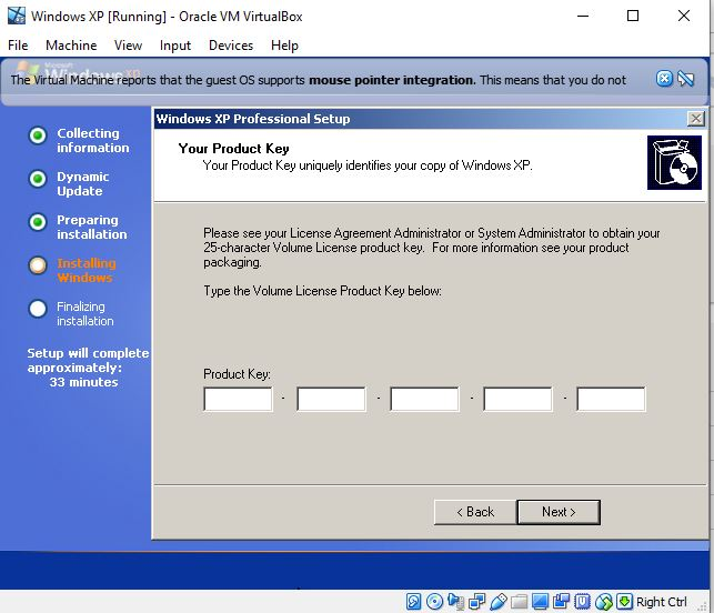 Enter Windows XP serial Key