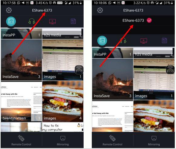Eshare app conencting with smart tv kodak