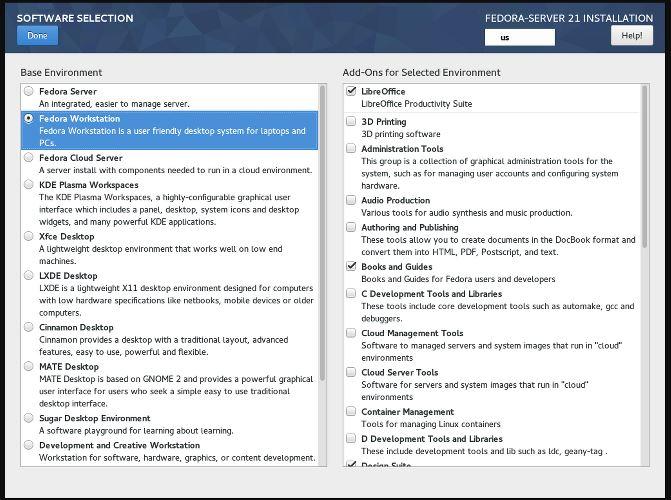 Fedora-server-software-selection-to-make-lighweight