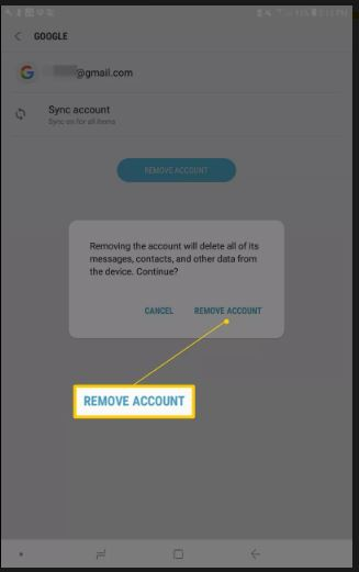 Give your confirmastion for account removal from Samaung Android