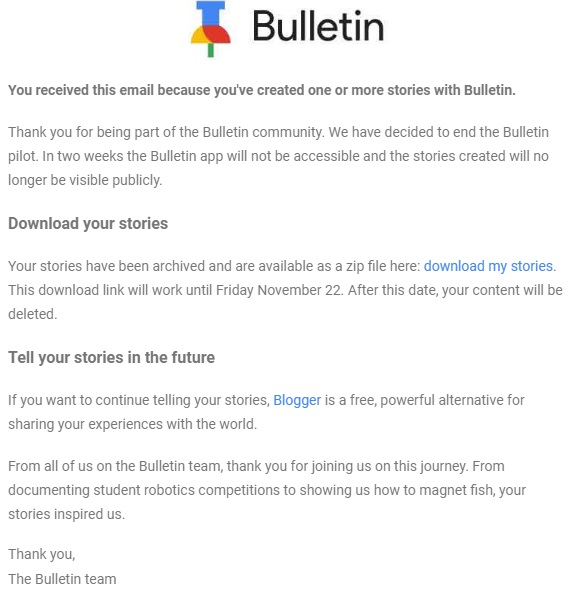Google shutting down bulletin