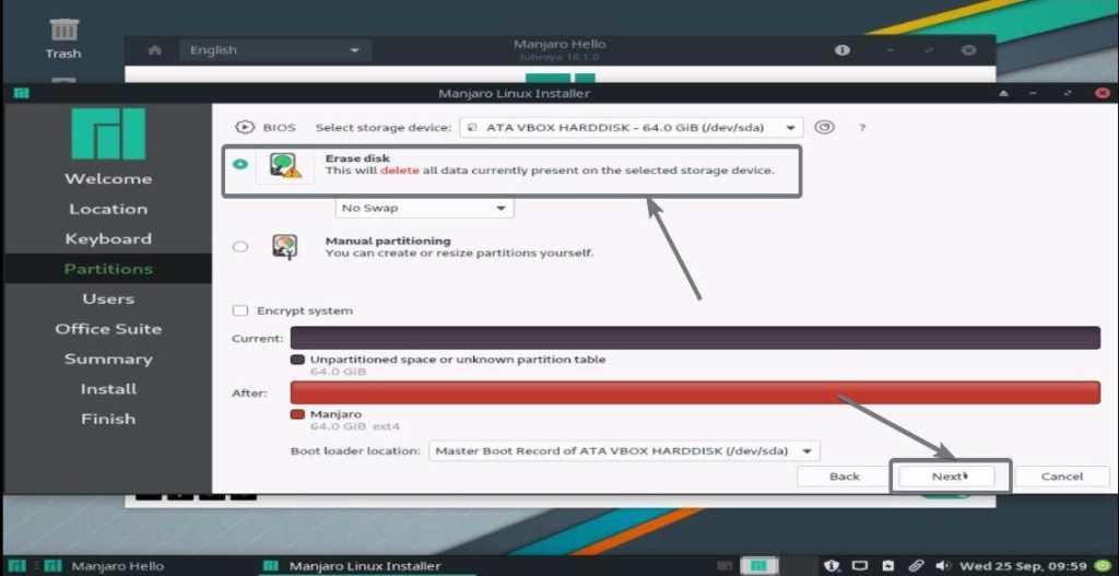 Erase disk and install Manjaro Linux
