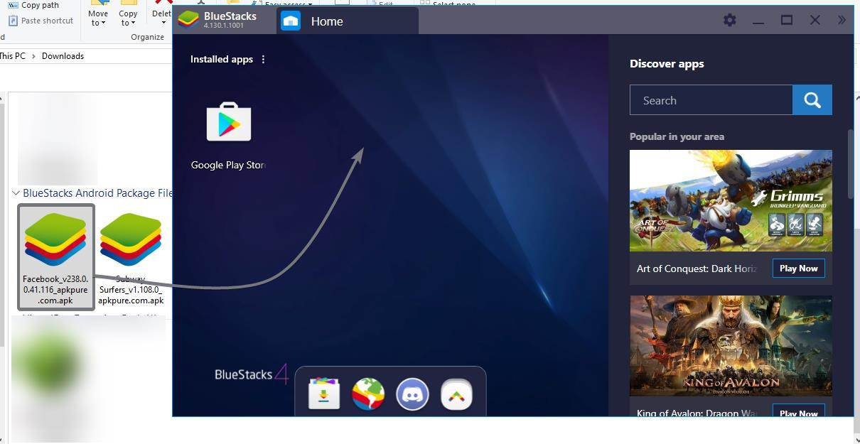 Drag and drop to install APK on BlueStacks 1
