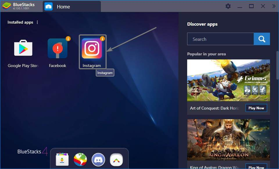 home tab of BlueStacks