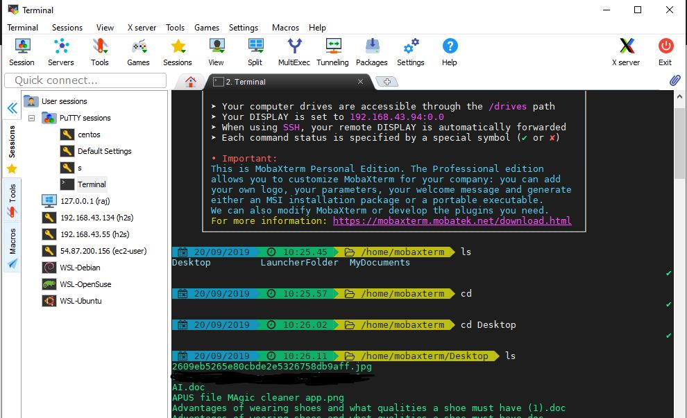 Local-Linux-Shell-MobaXterm-tabbed-ssh-client