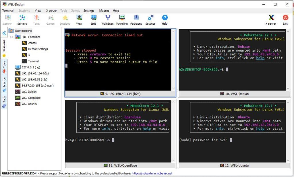 Multi-window-and-split-screen-ssh-client