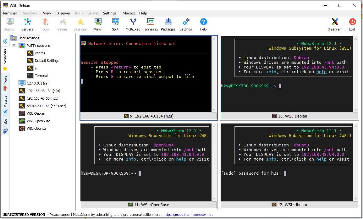 Mobaxterm Multi-window-and-split-screen