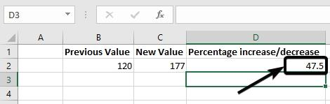Decrease or increase total value of percent