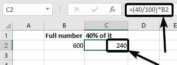 percentage formula in Excel for the same in C3