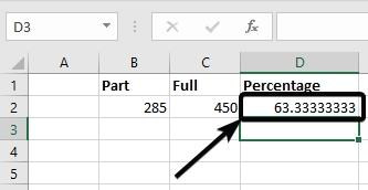 How to find percentage values in Microsoft Excel using the
