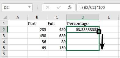 Percentage on Excel 3