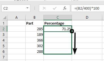 Percentage on Excel 7