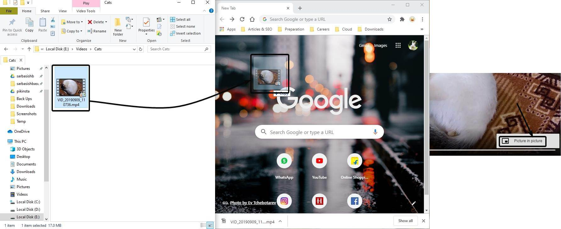 Google Chrome and tap on the 'Picture in picture' from the triple-dot menu