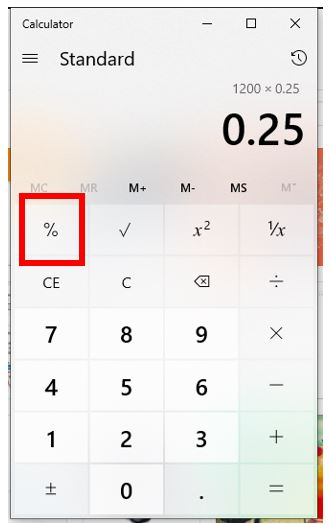 Press or Click on Percentage Key to calculate it
