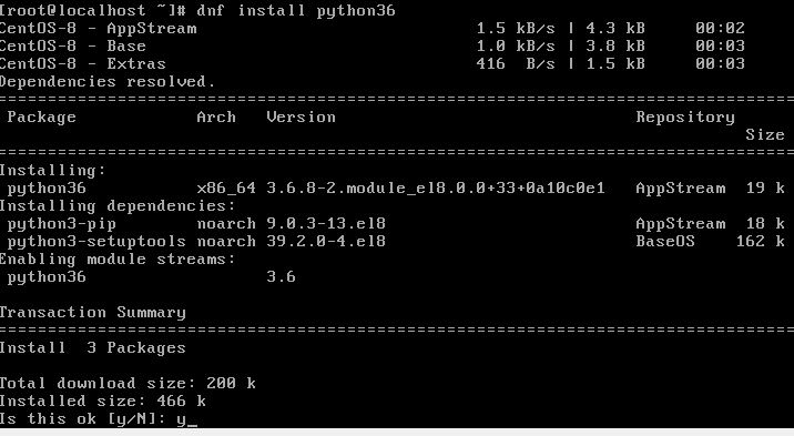 Python 3.6 installation on Centos 8 linux or Stream