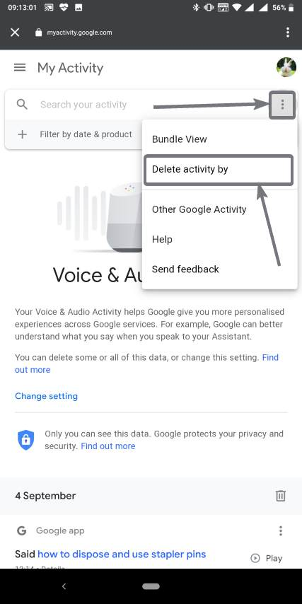 Deleting all your voice recordings that Google