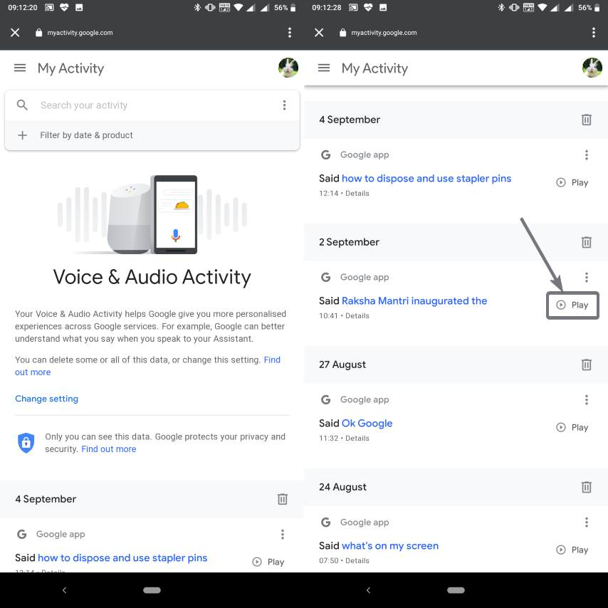 Play and Select the Voice recorded by Google