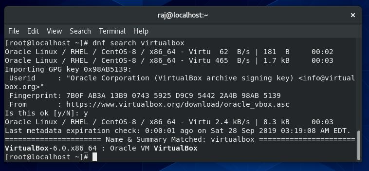Search for VirtualBox packages