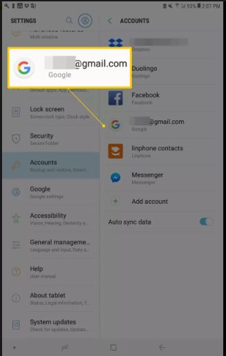 Select Google Account to remove