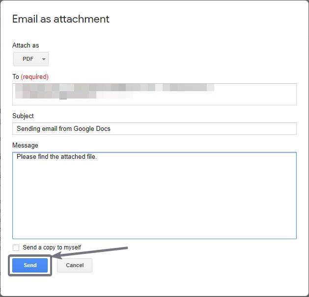 Email as Attachment from Google Docs office