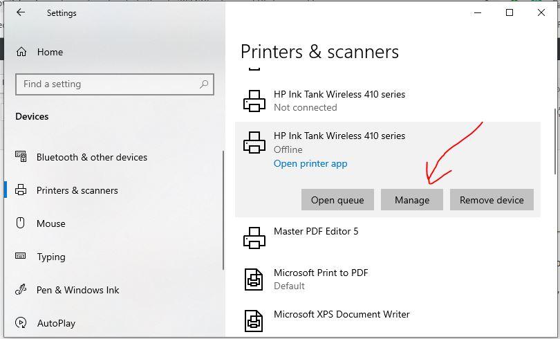 Set deaful printer in Windows 10