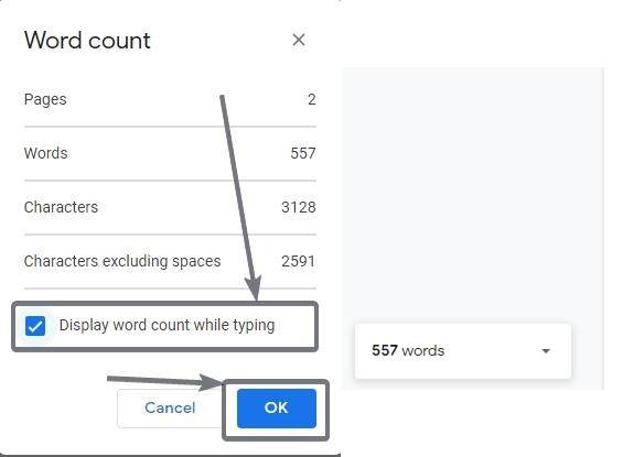 Display word count while typing on Google Docs 3 4