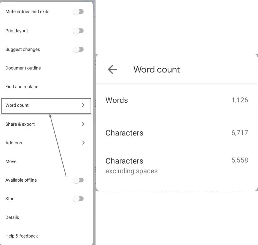 Google Docs mobile word doc count