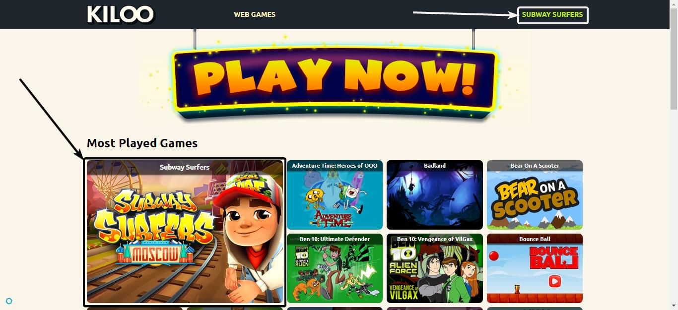 homepage of Kiloo Games