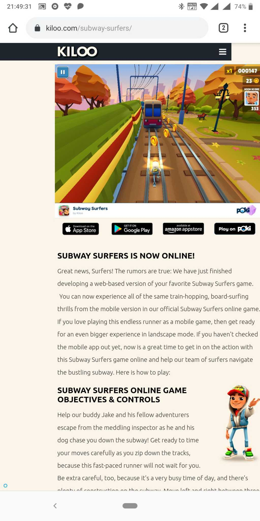 Subway Surfers web on PC online