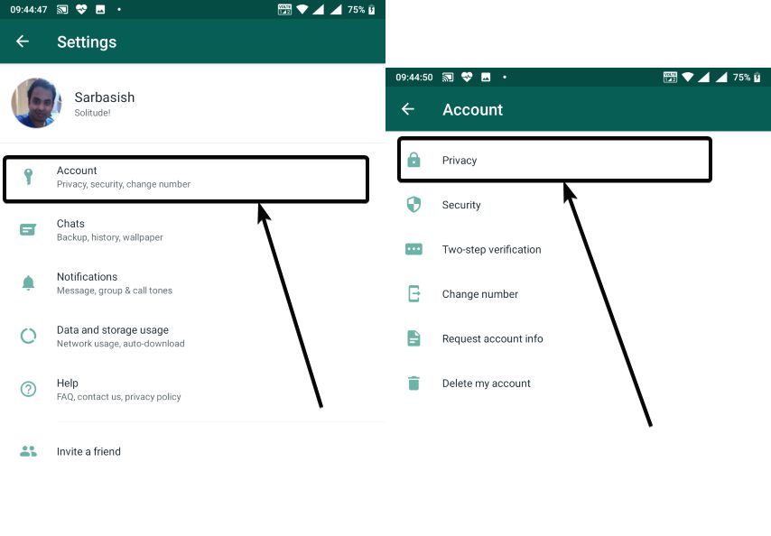 WhatsApp fingerrpint lock Privacy