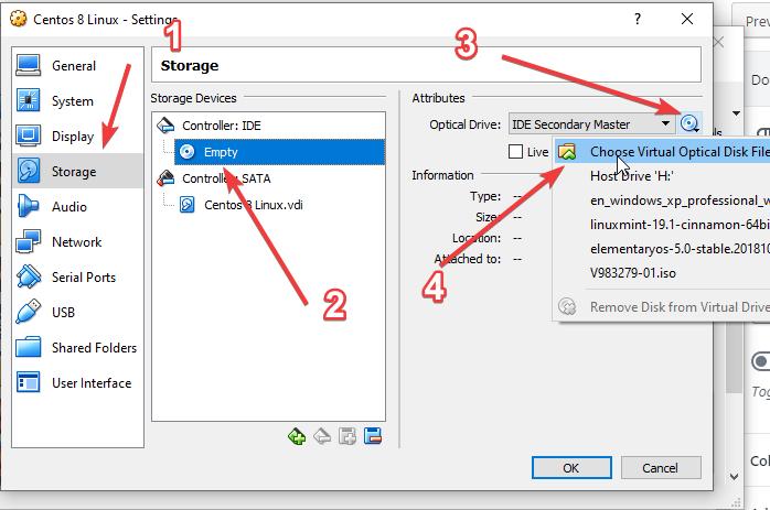 Set CentOS 8 Linux ISO as Virtualbox bootable medium