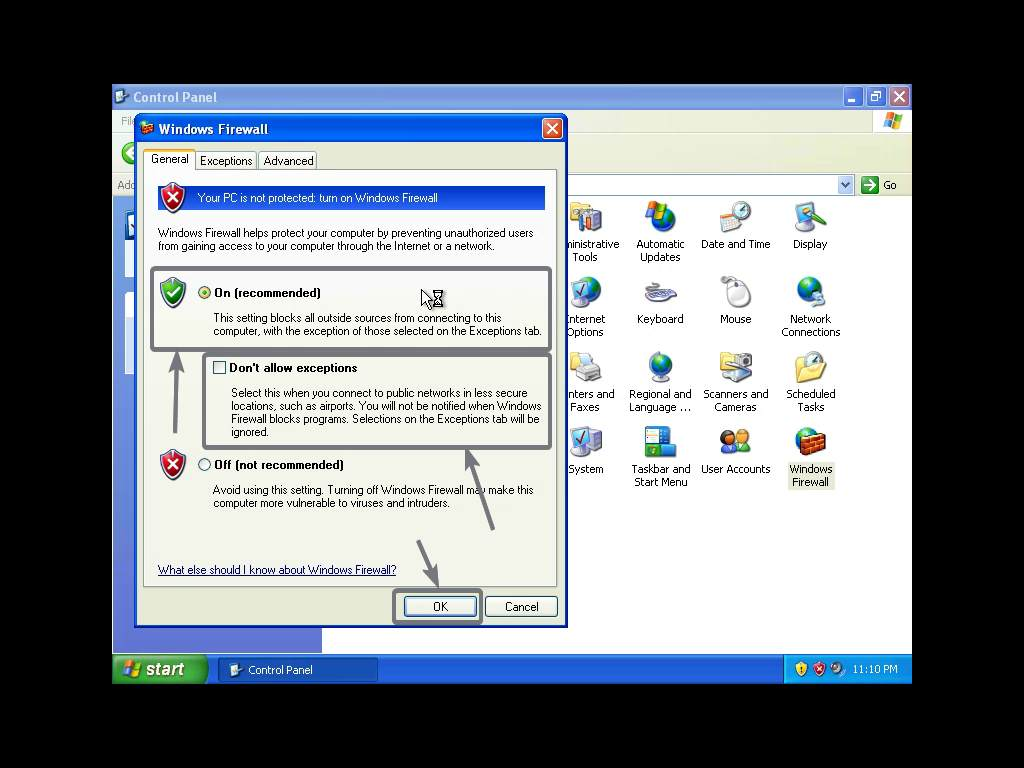 enable or disable firewall on Windows XP to block software