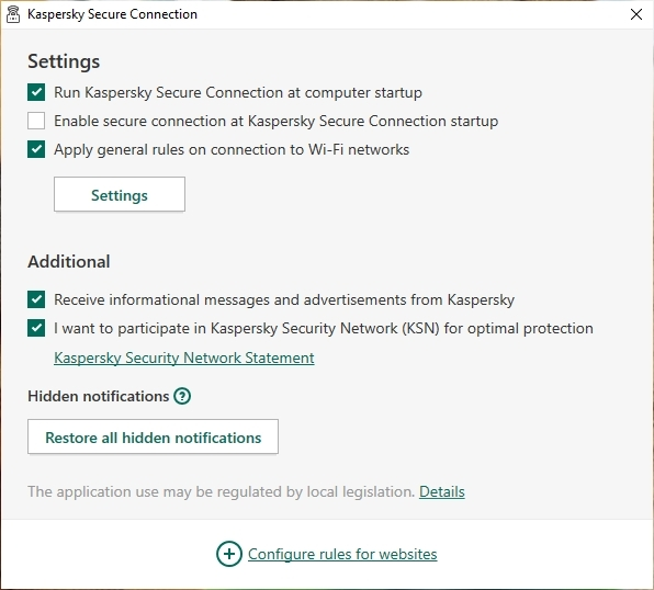 kaspersky Secure Settings