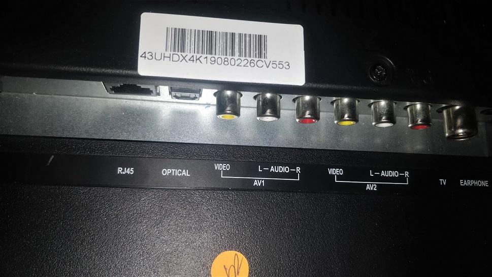 rear ports of KODAK XSMART 4K TV