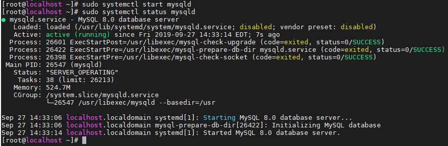 start the mysql service