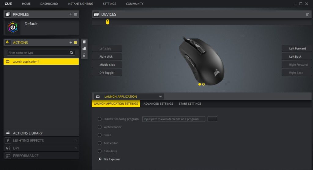 Actions -customize Corsair RGB mouse buttons functions