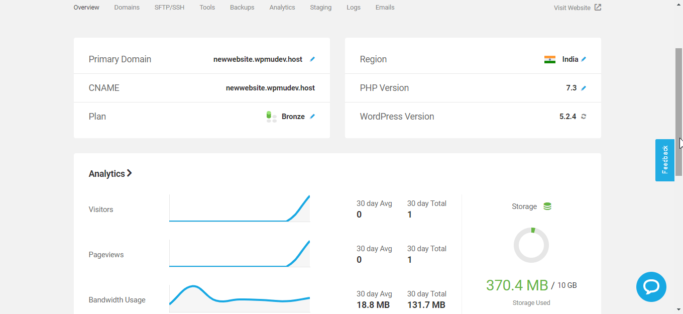 Analytics of WpmuDEV review hosting