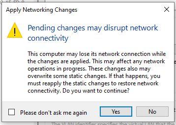 Application des paramètres réseau hyper-v windows 10