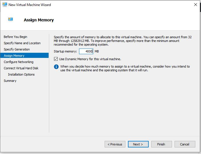 Assign RAM to Hyper-v virtual machines