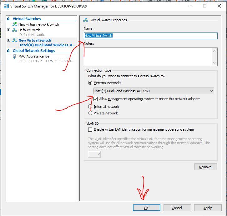 Propriétés du Bridge Virtual Switch Hyper-manager Windows 10