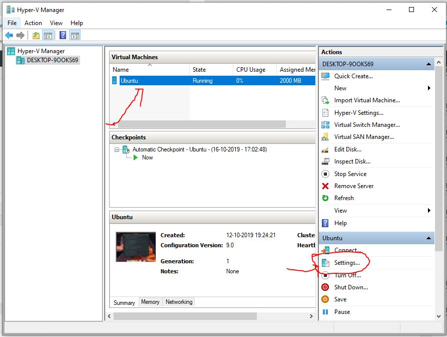 Change the Virtual machine adapter to bridge in Hyper-V