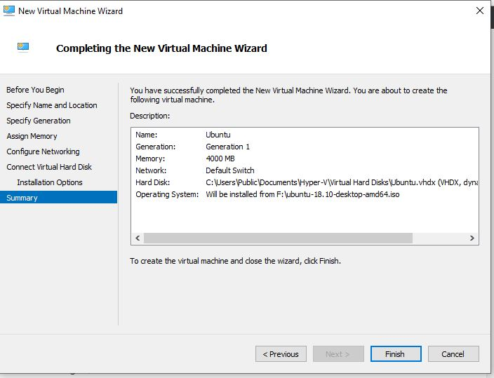 Compeleting the New Virtual Machine wizard