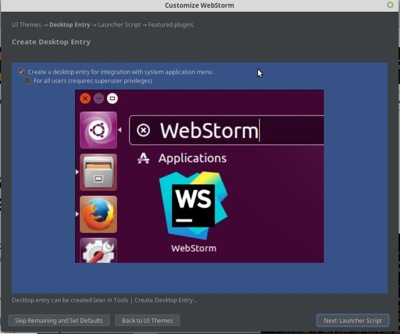 Create Desktop entry for integration of WebStorm
