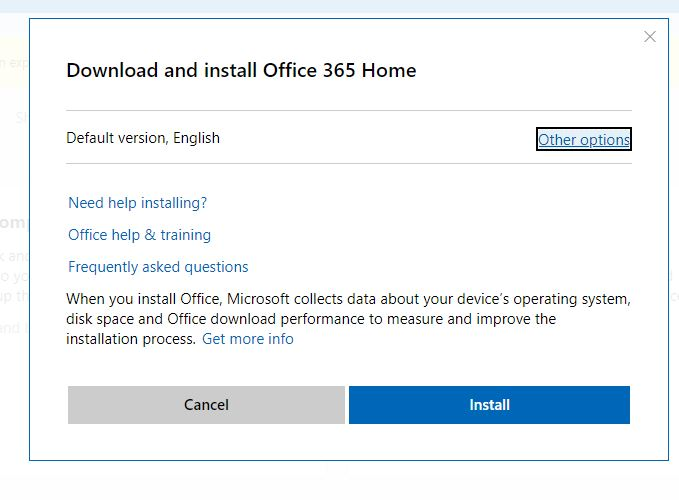 Downlaod and install office 365 home
