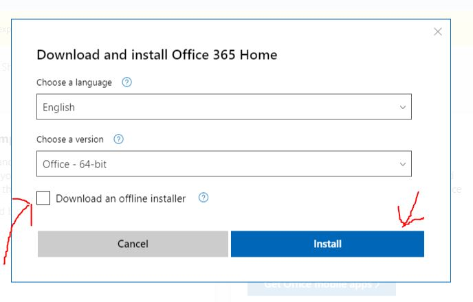 Download an offline installer of office 365