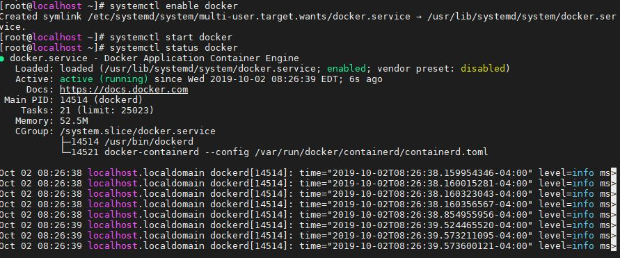 Enable and run docker service on CentOS 8